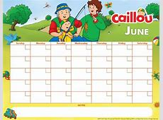 Printable Caillou Calendar – June 2017 Caillou