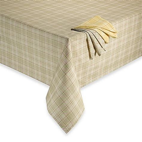 bed bath and beyond tablecloths tuscan plaid laminated fabric tablecloth bed bath beyond