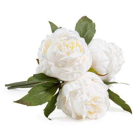 deco chambre bleue bouquet de fleurs artificielles 3 pivoines blanches