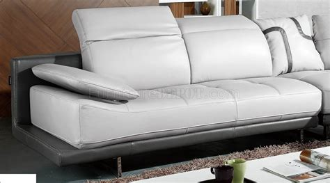 white grey top grain full leather modern sectional sofa