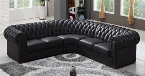 deco in canape d angle capitonne cuir chesterfield noir angle chester 2a2 blanc