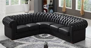 deco in paris canape d angle capitonne cuir chesterfield With canapé chesterfield angle