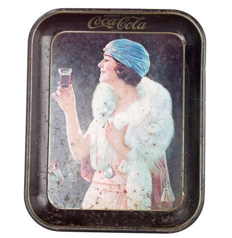 early 20s tin coca cola tray with woman chairish