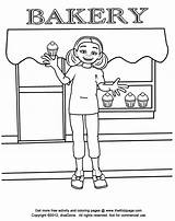 Coloring Pages Bakery Colouring Goods Baked Sheets Template Printable Kid Sketch sketch template