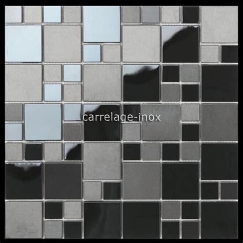 carrelage metro cuisine mosaique en inox noir mat et miroir crédence cuisine oken
