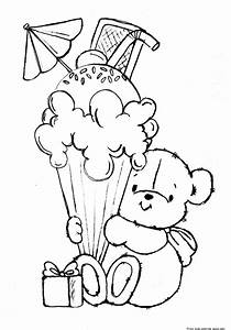 Printable teddy bear with birthday ice cream coloring ...