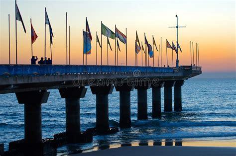 pier  port elizabeth  sunrise stock photo image