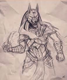 Egyptian God Anubis Head Drawings