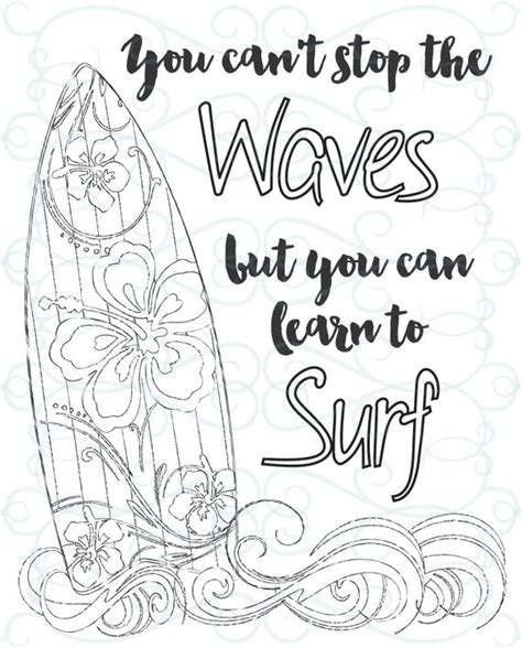 adult inspirational coloring page printable  learn  surf