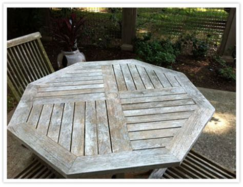 weathered teak table  chairs
