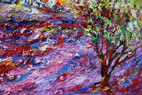 Impressionist Oil Painting Lavender Fields Provence By