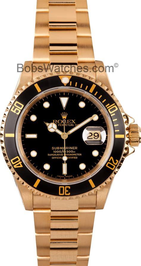 Mens Used Rolex Submariner 18k Gold Model 16618 ...