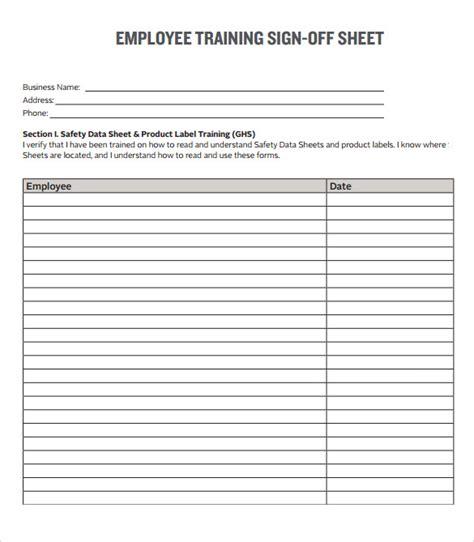 sample training sign  sheet templates