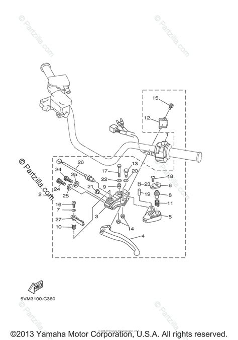 Yamaha Atv Oem Parts Diagram For Handle Switch Lever