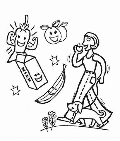 Healthy Coloring Pages Health Foods Drawing Habits