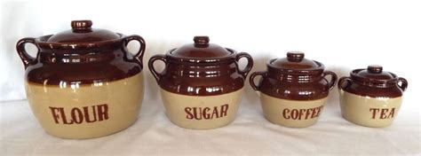 brown canister sets kitchen vintage stoneware canister set monmouth pottery 2