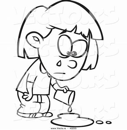 Sad Coloring Outline Crying Cartoon Pages Clipart