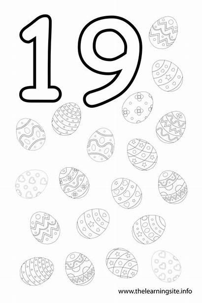 Number Coloring Pages Worksheets Thirteen Preschool Nineteen