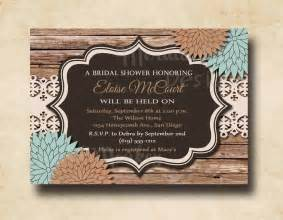 rustic wedding shower invitations rustic bridal shower invitation wedding by mermaidmonkeydesigns