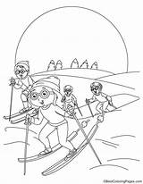 Skiing Alpine Coloring Pages sketch template