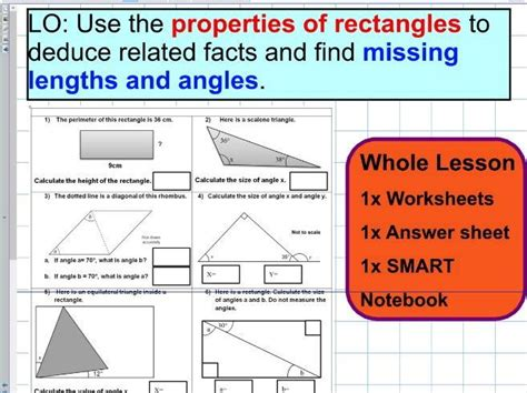 properties of rectangles and triangles missing angles