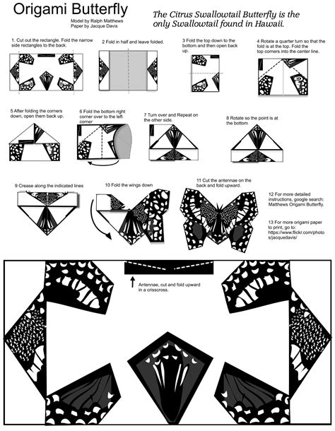 origami templates origami butterfly template with diy free printable papercraft templates