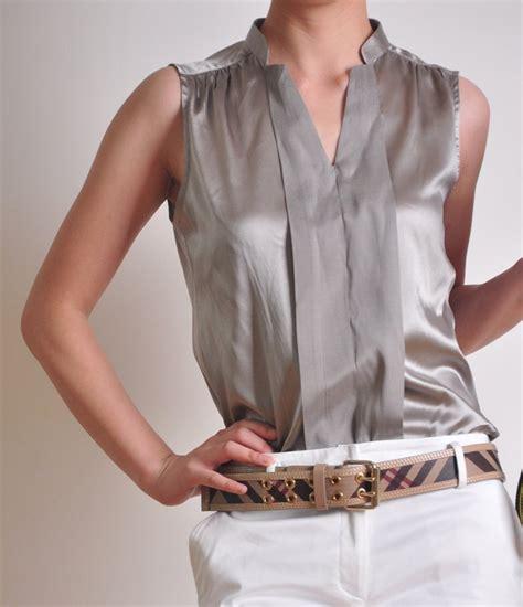 silver blouse silver grey silk satin v neck sleeveless shirt blouse