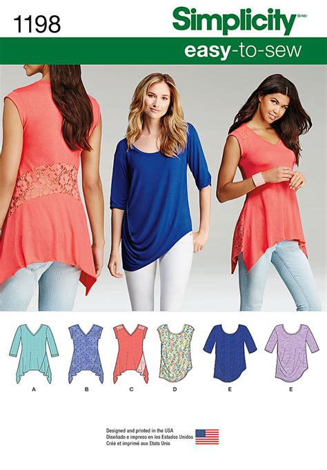 1198 simplicity pattern misses knit tops in two styles