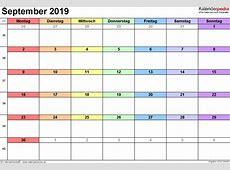 Kalender September 2019 als PDFVorlagen