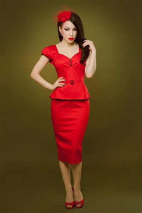 Pin up rockabilly red peplum dress by Hola Chica Clothing | Red Summer 2013