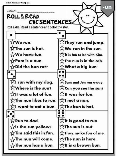 Sentences Kindergarten Read Phonics Cvc Roll Grade