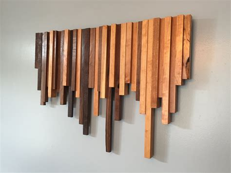wood wall decor wooden wall cherry and walnut strips wall decor wood