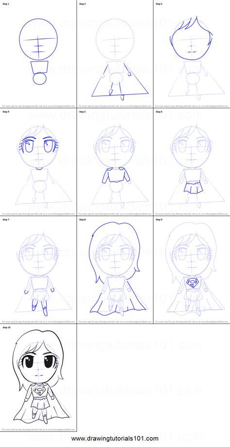 draw chibi supergirl printable step  step drawing