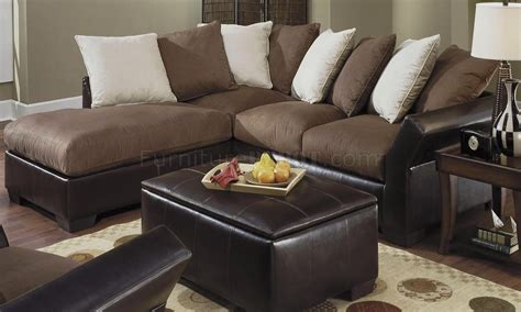 contemporary vinyl leather mocha micro suede sectional