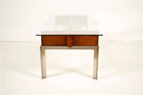 chrome and wood coffee table mid century modern chrome and wood coffee table for sale