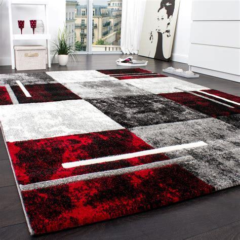designer teppich karo grau rot teppichde
