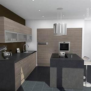 idee relooking cuisine cuisine contemporaine bois With idee deco cuisine avec ilot central cuisine gris