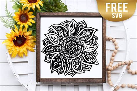 This week we have teamed up with one of our silhouette u designers for this week's freebie. Sunflower zentangle mandala svg - BlackCatsSVG