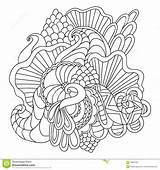 Coloring Pages Adults Vector Nature Drawn Curl Hand Pattern Ornamental Sketchy Doodle Decorative Abstract sketch template
