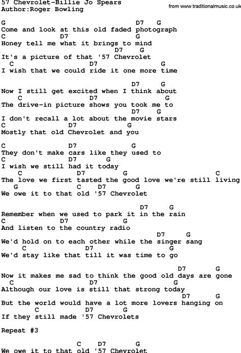 Country Music57 Chevroletbillie Jo Spears Lyrics And Chords