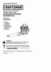 Craftsman 358794940 User Manual Blower Gas Manuals And