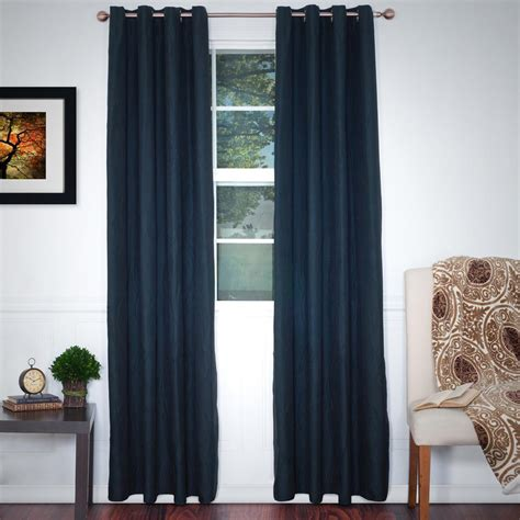 At Home Drapes by Lavish Home Black Polyester Grommet Curtain 56 In W X