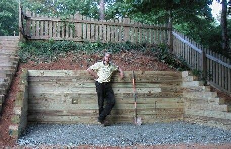 landscaping idea wood retaining wall ideas