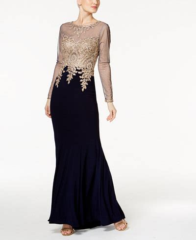 xscape embroidered mesh mermaid gown regular petite
