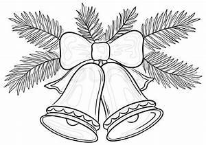 Weihnachtsmotive Schwarz Weiß : weihnachtsdekoration glocken mit bogen und tannenzweigen konturen stock foto colourbox ~ Buech-reservation.com Haus und Dekorationen