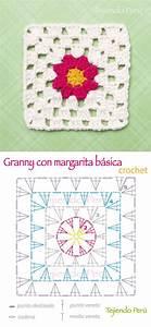 Crochet  Diagrama De Un Lindo Granny O Cuadrado Con Un