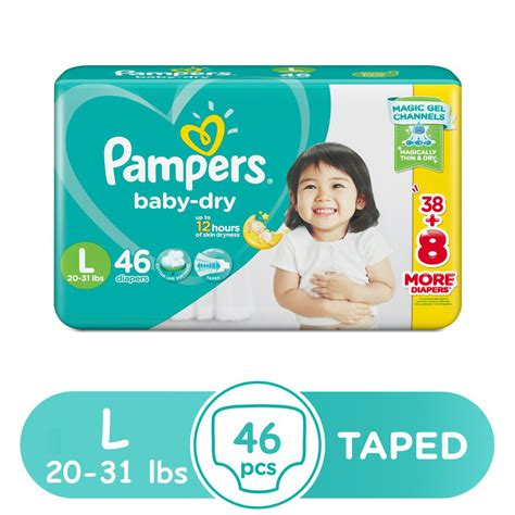 Pampers Baby Dry Taped Diapers Large 46s Shopee Philippines