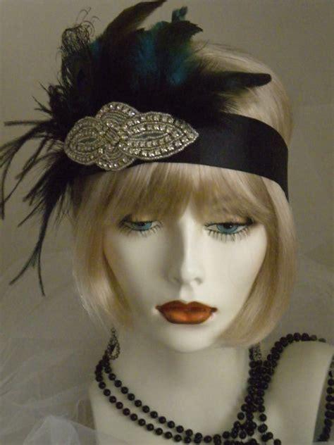 1920s Headpiece Flapper Headband Gatsby Peacock Feathers