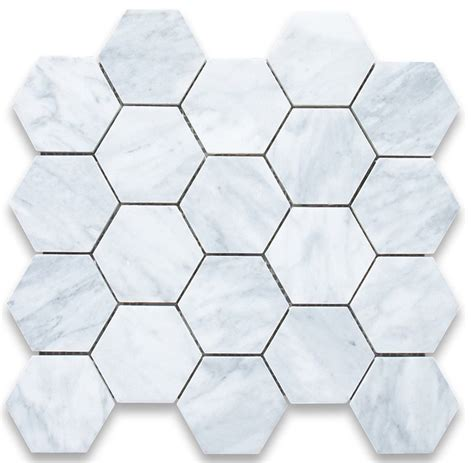 Carrara Marble Tile Hexagon by Carrara White 3 Inch Hexagon Mosaic Tile Honed Marble