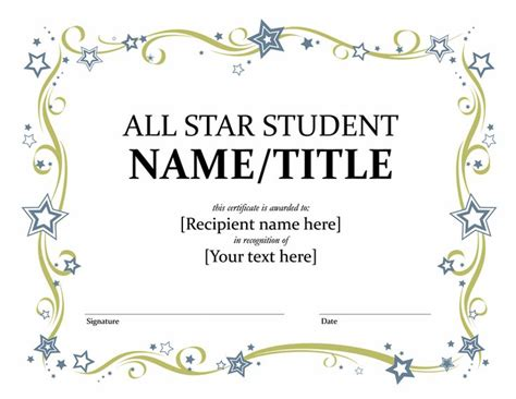 star student certificate templates officecom